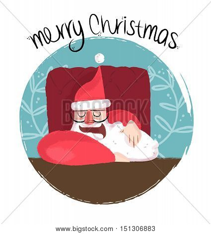 Merry Christmas Funny Illustration Of Sleepy Santa