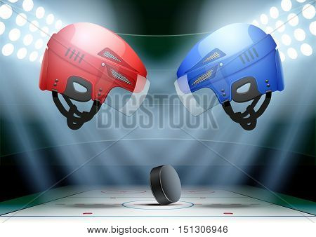 Ice hockey Poster with helmets and puck. Horizontal Background night stadium in the spotlight. Editable Vector Illustration.
