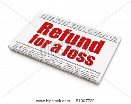 Insurance concept: newspaper headline Refund For A Loss on White background, 3D rendering