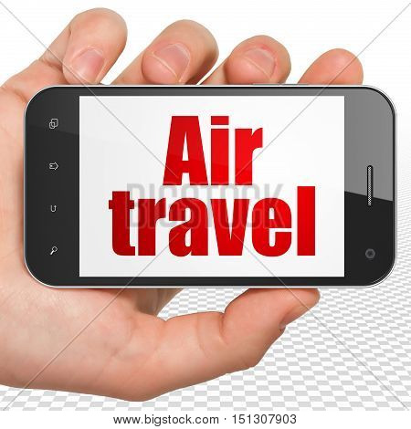 Travel concept: Hand Holding Smartphone with red text Air Travel on display, 3D rendering