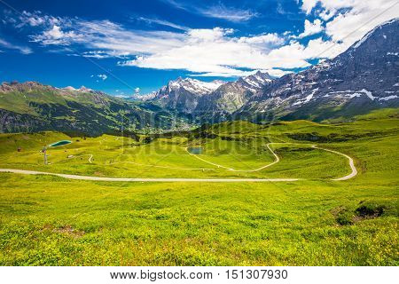 Panorama View To Grindelwald From Mannlichen With Eiger, Monch And Jungfrau Mountain (swiss Alps) In