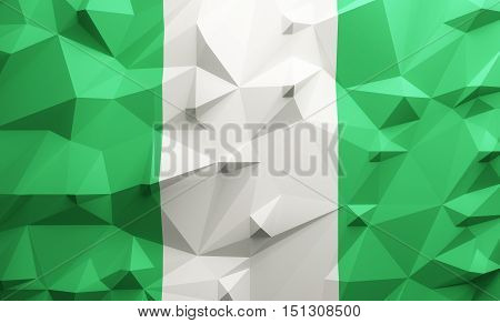 Low poly illustrated Nigeria flag. 3d rendering.