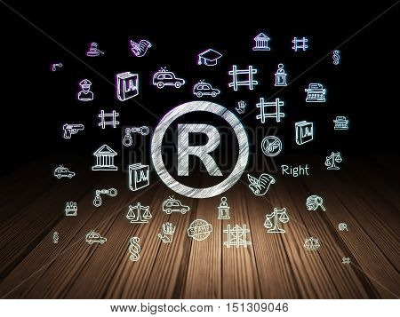 Law concept: Glowing Registered icon in grunge dark room with Wooden Floor, black background with  Hand Drawn Law Icons