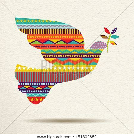Christmas Peace Dove Art Design In Fun Colors