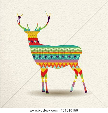 Christmas Reindeer Art Design In Fun Colors