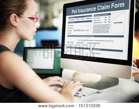 Pet Insurance Claim Form Protection Safety Health Concept
