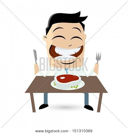 clipart of a happy man with a big steak