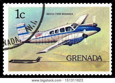 STAVROPOL RUSSIA - October 10 2016: a stamp printed in Grenada shows plane Beechcraft Twin Bonanza 1952 circa 1976.