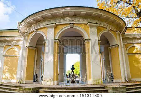 ST PETERSBURG RUSSIA - OCTOBER 3 2016. Rossi Pavilion in the Mikhailovsky Garden and the monument bust to Carlo Rossi indoor - famous Russian architect of Italian origin in St Petersburg Russia