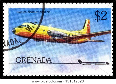 STAVROPOL RUSSIA - October 10 2016: a stamp printed in Grenada shows plane Hawker Siddeley HS 748 1960 circa 1976.