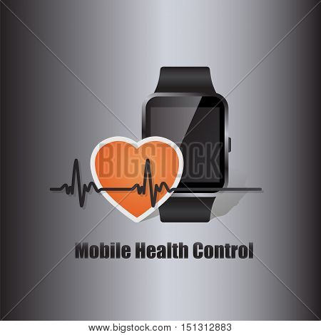 mobile device smart watch with heart beat symbol as online health control vector illustration
