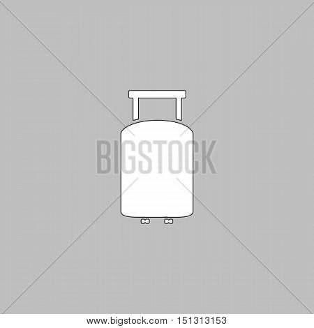 Suitcase Simple line vector button. Thin line illustration icon. White outline symbol on grey background