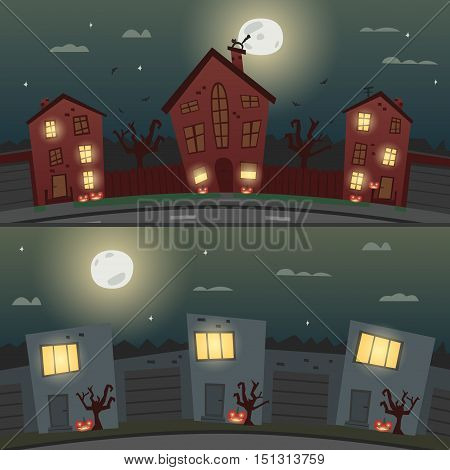 Two Halloween backgrounds for banners, invitations, posters or web