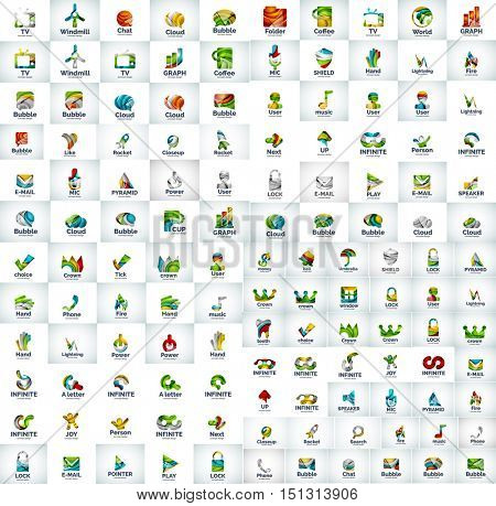 Mega collection of web logo icons, business universal corporate symbols