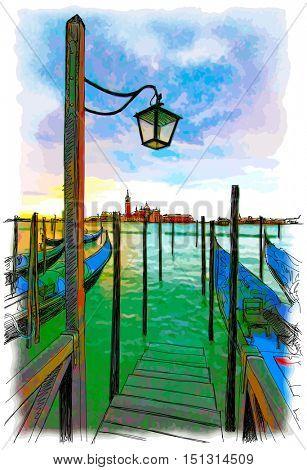 Venice. Quay Piazza San Marco. Gondolas on the water