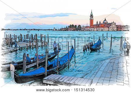 Venice. Italy. Quay Piazza San Marco. Gondolas on the water & Island of San Giorgio Maggiore. Vector color illustration
