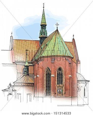 Poland. Krakow. Church. Vector color illustration