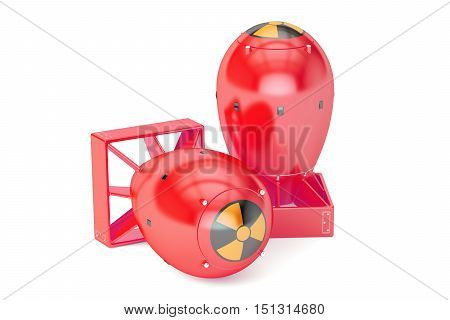Red Atomic Bombs 3D rendering isolated on white background
