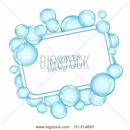 square background with shiny soap bubbles and space for text