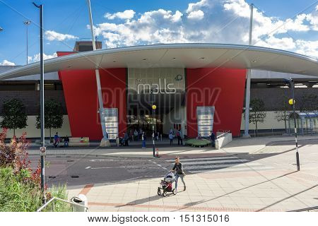 Basingstoke/UK. 2nd October 2016. The Malls shopping centre is located immediately outside the main entrance to Basingstoke railway station for convenience.