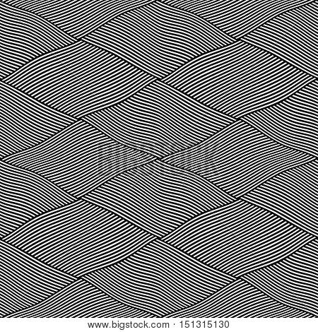 Seamless interweaving lines pattern. Vector art.