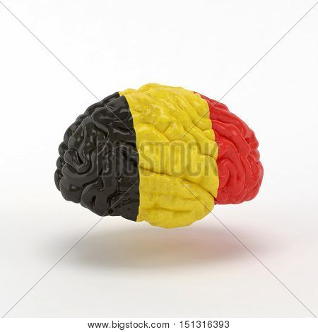 Belgium. Flag on Human brain. 3D illustration.