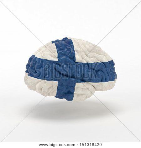 Finland. Flag on Human brain. 3D illustration.