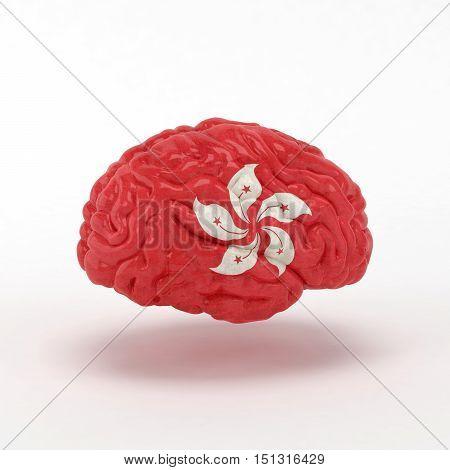 Hond Kong. Flag on Human brain. 3D illustration.