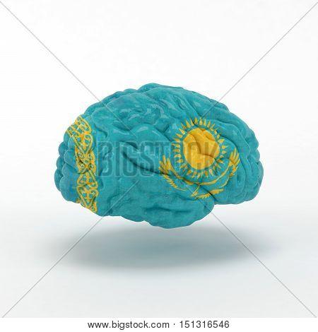 Kazakhstan. Flag on Human brain. 3D illustration.