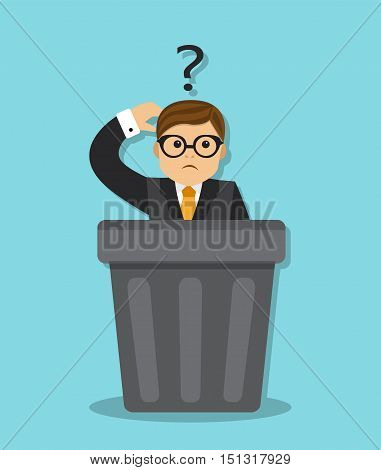 sad businessman sitting in a garbage can, and think why he was fired