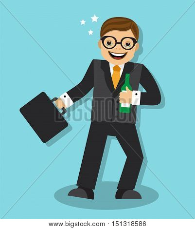 Drunk businessman with a bottle and goes reeling