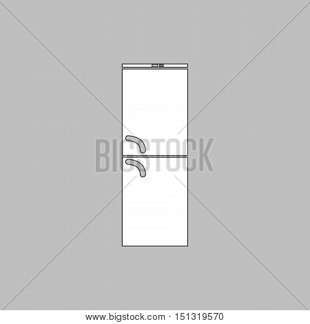 Refrigerator Simple line vector button. Thin line illustration icon. White outline symbol on grey background