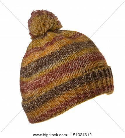 Knitted Hat Isolated On White Background .hat With Pompon Colorful