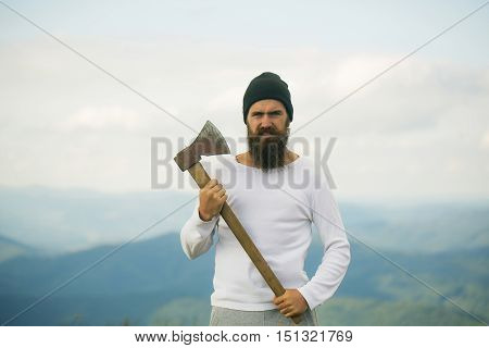 Strong Man Lumberjack With Axe