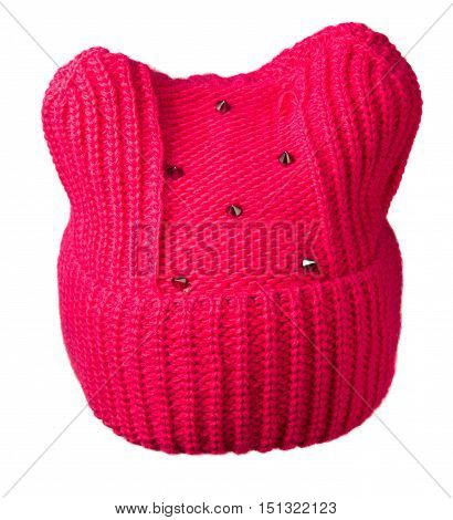 Women's Knitted Hat Isolated On White Background.women's Hat Red