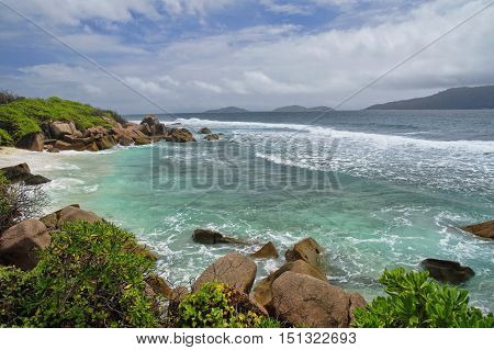 Low tide at the wild east coast of La Digue Seychelles