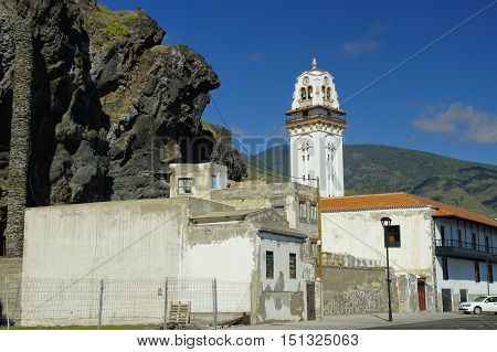 Bell tower of the Basilica of Candelaria in Tenerife Canary Islands Spain.