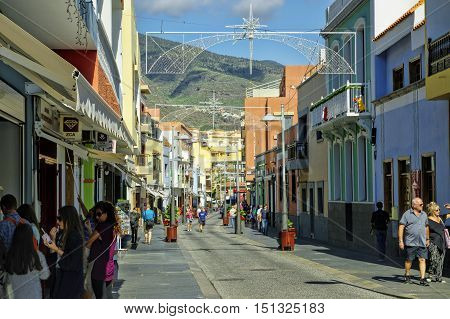 CANDELARIA, SPAIN, TENERIFE - JANUARY 04: The main street at Candelaria on Tenerife island on January 4, 2016, Canary Islands, Spain