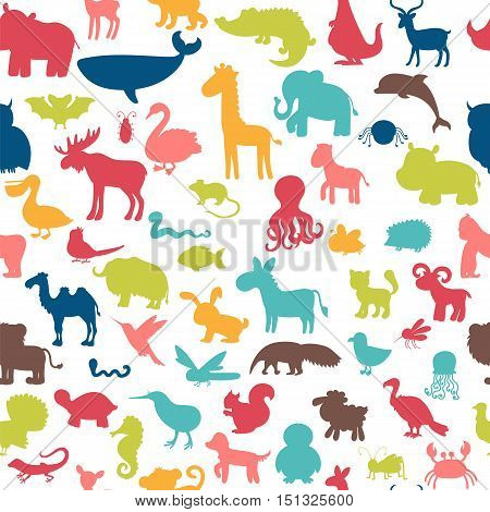 Seamless pattern with colored animals silhouettes. Cute background. Vector illustration