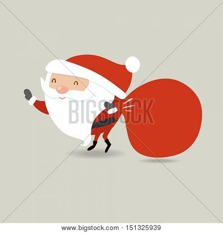 Santa Claus with big red sack. Santa holding presents bag