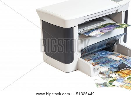 Printer printing fake Swiss francs currency of switzerland isolated on white background