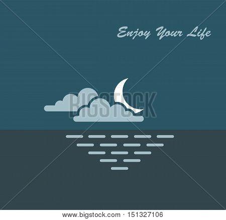 moon sky sea nature enjoying vector illustration