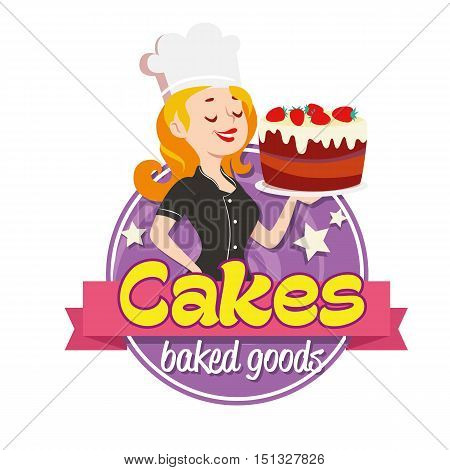 Vintage cartoon logo. Smiling woman dressed in a cook cap and with a strawberry cake with frosting on white background