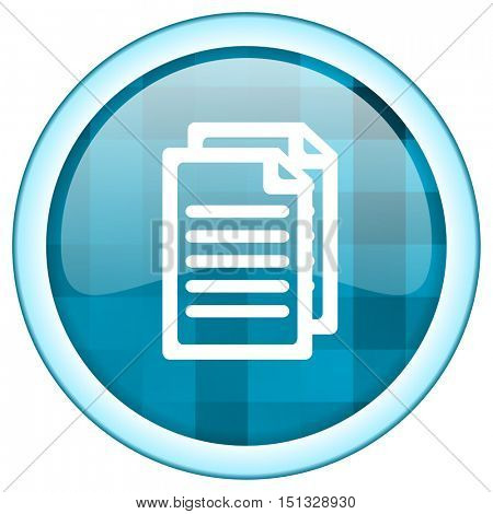 Blue circle vector document icon. Round internet glossy news button. Webdesign graphic element.