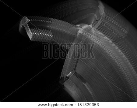 Abstract sharp grey movement fractal on black background