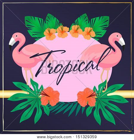 Bright hawaiian design with tropical plants and hibiscus flowers and flamingos