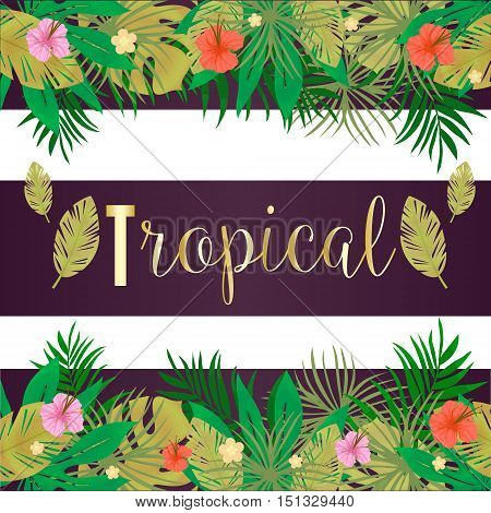 Bright hawaiian design with tropical plants and hibiscus flowers,