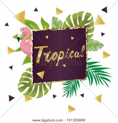 Bright hawaiian design with tropical plants and flamingos