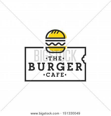 Burger cafe. Burger logo, emblem, label. Vector
