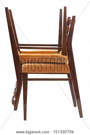 Two Wooden chairs. Isolated on white background